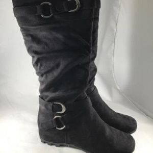 SODA MARILYN Knee High Hidden Wedge Dress Boots
